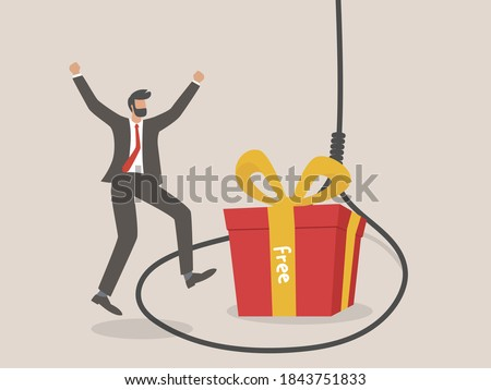 rope trap with gift box with free sign, Businessman and Rope trap. Fraud, freebie, crime and lie. Foto stock ©