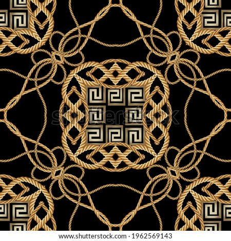Ropes seamless pattern. Modern ornamental vector greek background. Repeat decorative gold strings ornaments. Hand drawn colorful textured design with ropes, string, wave lines, greek key, meanders.