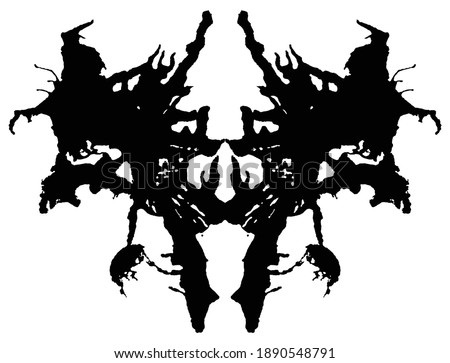 Rorschach inkblot test. Symmetrical abstract ink stains.  Psycho diagnostic for silhouette spot. Vector isolated on white background