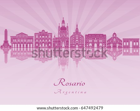 rosario skyline in purple