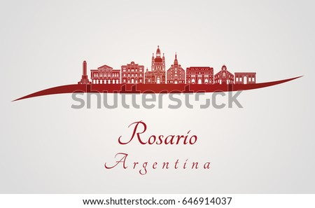 rosario skyline in red and gray