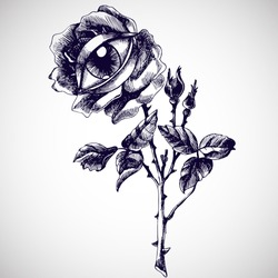 Rose and eye. Hand-drawn vector surreal illustration. Unusual symbolic drawing for your logo design.