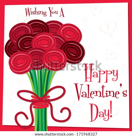 Rose bouquet Valentine\'s Day card in vector format.
