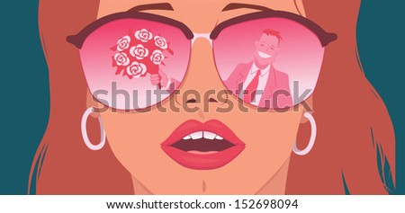 rose colored glasses portrait