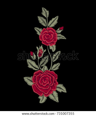 Rose. Embroidered red flowers.