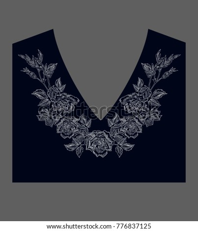 rose embroidery design .for women's wear