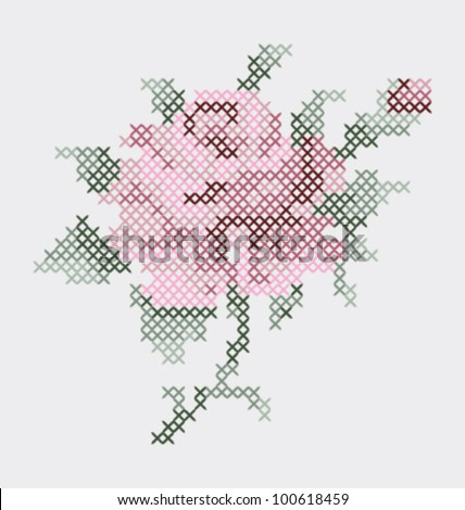 ROSE FLOWER EMBROIDERY  PATTERN. Vector illustration file.