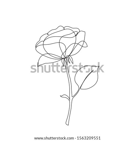 rose flower icon one line