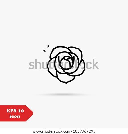 rose flower line icon vector