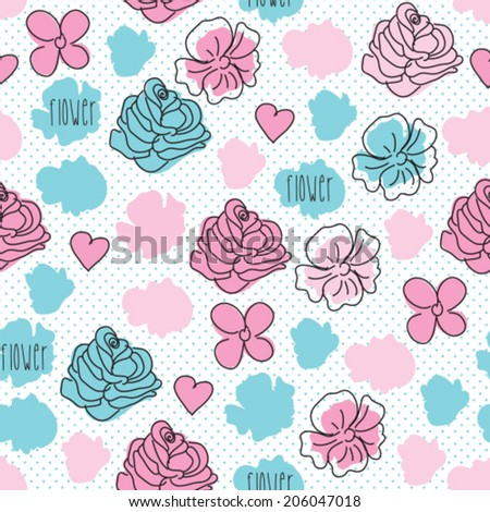 rose flower pattern vector