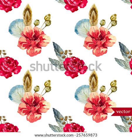 Flower Watercolor Pattern Feather Boho Wallpaper