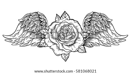 rose flower with angel or bird...
