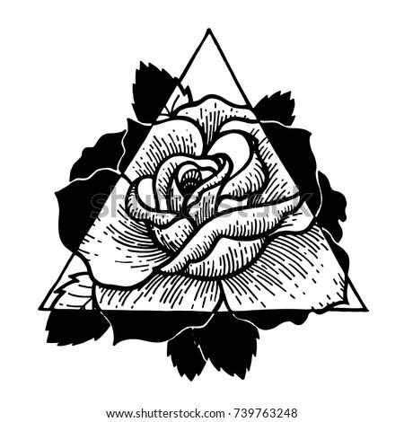 Rose flower with sacred geometry frame.Tattoo, mystic symbol. Boho print, poster, t-shirt. textiles. Vector illustration art. Vintage engraving. Vintage style. Traditional art tattoos. Blackwork.