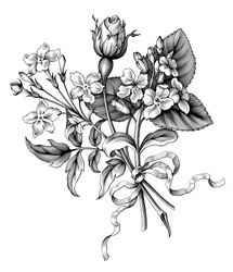 Rose flowers vintage Baroque Victorian garden wild floral ornament frame border bouquet scroll bunch engraved retro decorative tattoo black and white filigree vector