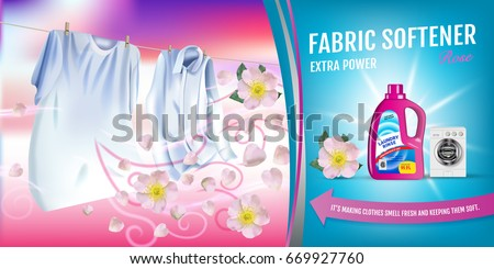 Rose fragrance fabric softener gel ads. Vector realistic Illustration with laundry clothes and softener rinse container. Horizontal banner Foto stock ©