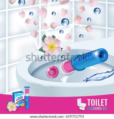 Rose fragrance toilet cleaner gel disc ads. Vector realistic Illustration with toilet bowl gel dispenser and gel discs. Poster.