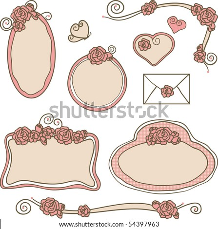 stock vector rose frames and borders