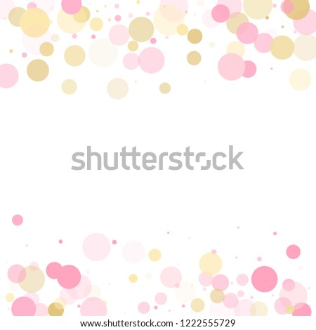 Stock Photo Rose gold confetti circle decoration for party invitation card. Birthday vector illustration. Gold, pink and rose color round confetti dots, circles scatter on white. Trendy rich bokeh background.