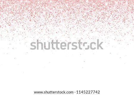 Rose gold falling particles on white background. Vector
