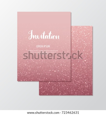 Rose gold glitter invitation template with sparkles for events.