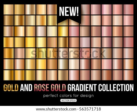Rose gold gradient collection. Trend colors. Vector metal texture