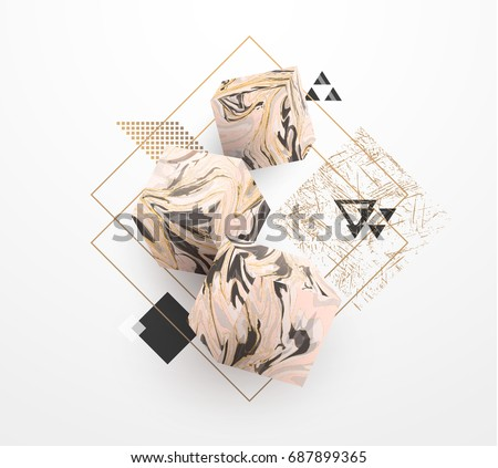 Rose Gold marble template set, artistic covers design, colorful texture, realistic cubes, backgrounds. Trendy pattern, graphic poster, watercolor geometric brochure, cards. Vector illustration.
