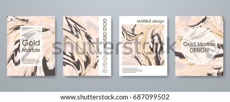 Rose Gold marble template set, artistic covers design, colorful texture, realistic fluid backgrounds. Trendy pattern, graphic poster, watercolor geometric brochure, cards. Vector illustration.