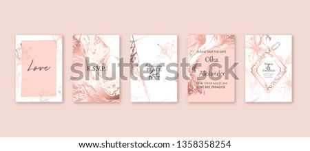 Rose gold marble texture card. Floral, lilies bouquet wedding invitation design.  Liquid art background. Brochure, cover template.