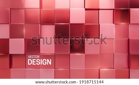 Rose gold mosaic background. Random cubes backdrop. Vector geometric illustration. Glossy square shapes. Architectural abstraction. Interior concept. Business or corporate decoration
