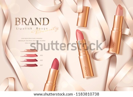 Rose gold package lipstick ads with ribbons in flat lay, 3d illustration