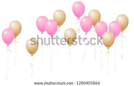 rose gold pink flying balloons