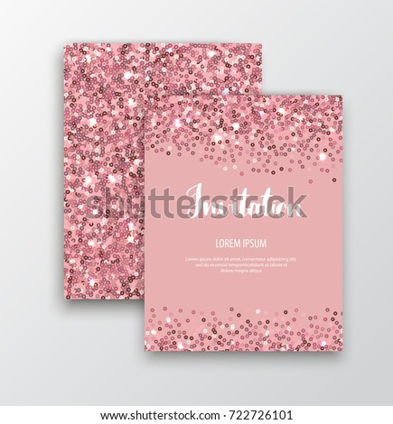 Rose gold sequins. Pink sparkle cards. Rose gold glitter background. Vector template for holiday designs, invitation, party, birthday, wedding, New Year, Christmas, Valentines Day.