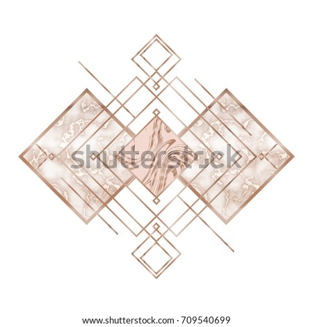 rose gold trendy geometric