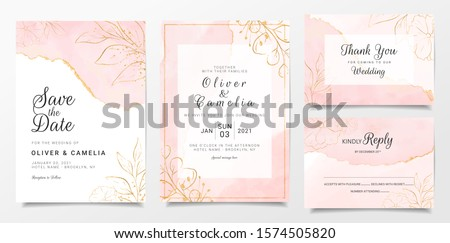 Rose gold watercolor wedding invitation card template set with golden floral decoration. Abstract background save the date, invitation, greeting card, multi-purpose vector