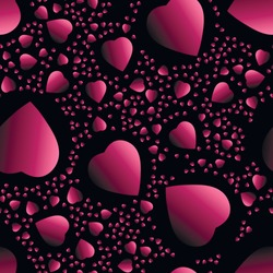 Rose gradient hearts at black background. seamless background.