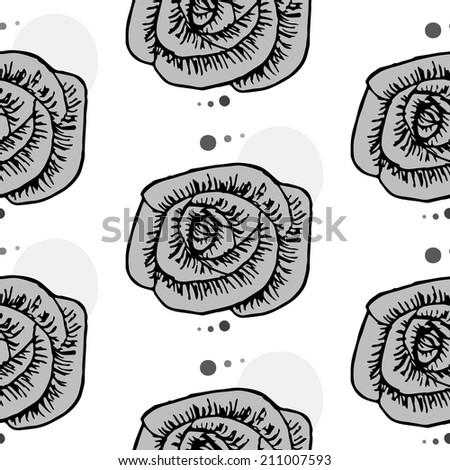 Rose gray ink seamless pattern