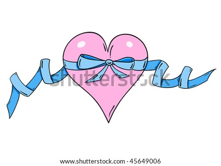 Rose heart with blue ribbon