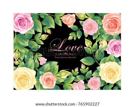 Rose Love Card.illustration vector