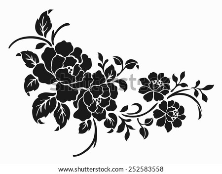 Rose motif Flower design elements vector