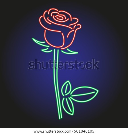 rose neon glowing on dark
