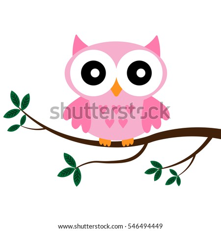 Rose owl sitting on the branch