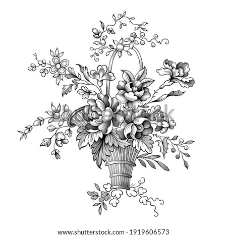 Rose peony flowers bouquet Baroque Victorian vintage basket botanical illustration engraved garden floral ornament frame border scroll bunch retro decorative tattoo black and white filigree vector