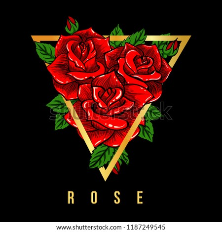 Rose red illustration t-shirt