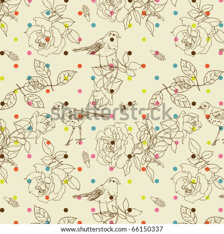 rose seamless pattern with bird