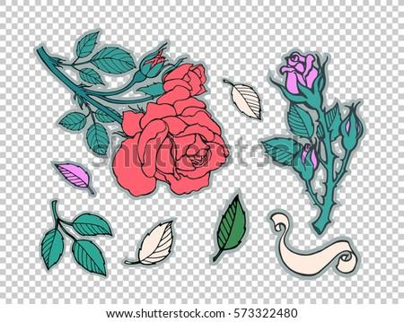 rose tattoo set sticker  patch