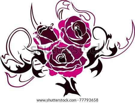 stock vector Rose tattoo