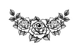 Rose Tattoo with eye mystic symbol. Flower Vintage decorative elements. Vector illustration art. Traditional art tattoos. Boho print, poster, t-shirt. textiles. Blackwork. Isolated vector Ink Roses