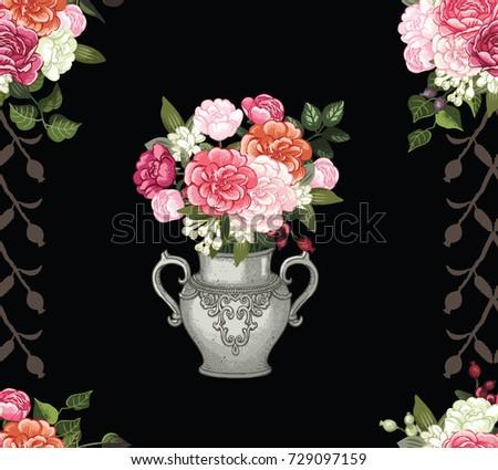 Rose vase, rose pattern vector, vintage image