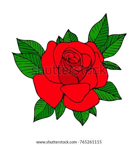 Rose Vector Illustration Doodle Style Design Print Logo Decor