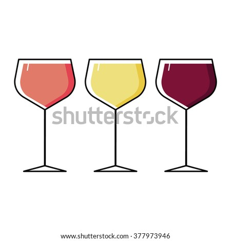 rose white and red wine glasses flat illustration